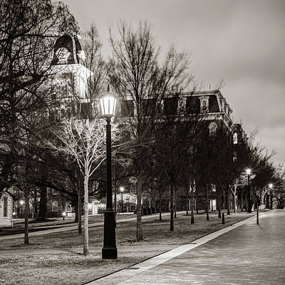 Photograph - Old Main At Dusk - Classic Sepia - University Of Arkansas by Gregory Ballos