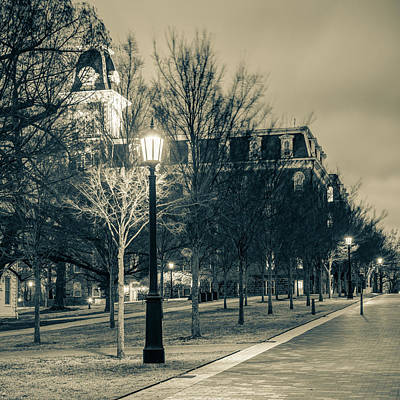 Photograph - Old Main At Dusk In Sepia - University Of Arkansas by Gregory Ballos