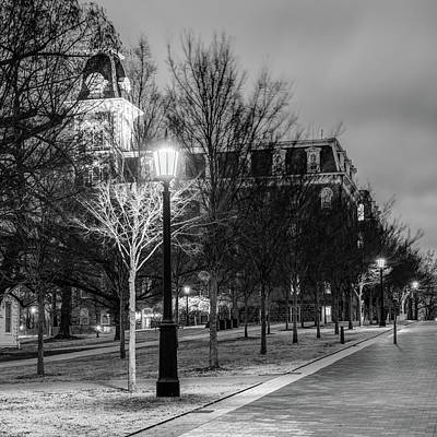 Photograph - Old Main At Dusk - Monochrome - University Of Arkansas by Gregory Ballos