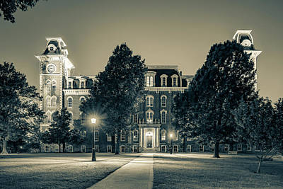 Photograph - Old Main At Twilight - University Of Arkansas - Sepia by Gregory Ballos