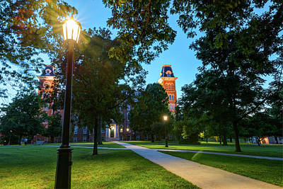 Photograph - Old Main Lights - University Of Arkansas by Gregory Ballos