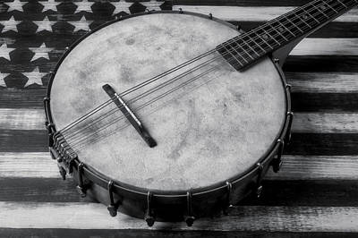 Photograph - Old Mandolin Banjo In Black And White by Garry Gay
