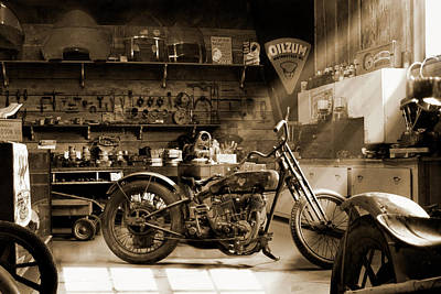Photograph - Old Motorcycle Shop Sp by Mike McGlothlen