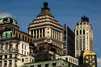 Painting - Old New York Skyline Drawing by Peter Potter