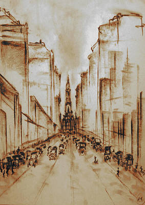 Old Philadelphia City Hall 1920 - Pencil Drawing Art Print