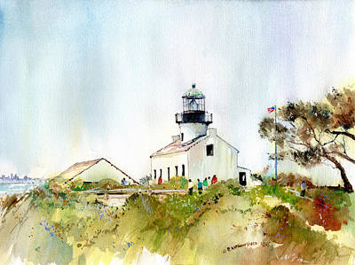 Painting - Old Point Loma Light by P Anthony Visco
