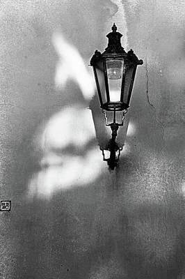 Photograph - Old Prague Lantern On The Grunge Wall by Jenny Rainbow