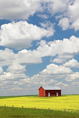 Photograph - Old Red Grain Bin On The Great Plains by Imaginegolf