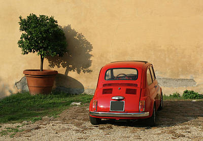 Photograph - Old Red Mini Under A Tree In Rome Italy by Romaoslo
