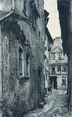 Drawing - Old Road by Adolph Menzel