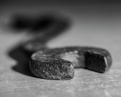 Photograph - Old S Wrench that could be a snake in black and white by Art Whitton