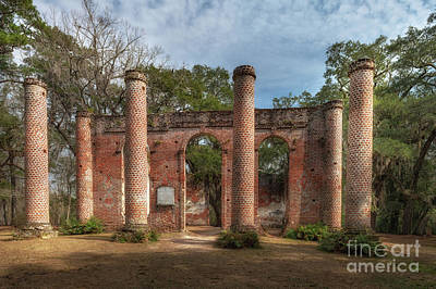 Photograph - Old Sheldon Church Ruins In Yemassee South Carolina by Dale Powell