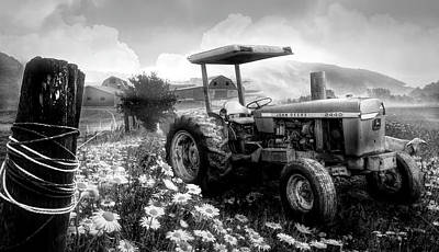 Photograph - Old Tractor In The Fields Black And White by Debra and Dave Vanderlaan