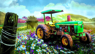 Photograph - Old Tractor In The Fields by Debra and Dave Vanderlaan