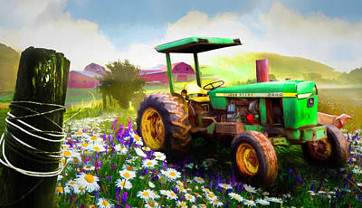 Photograph - Old Tractor In The Fields Painting by Debra and Dave Vanderlaan