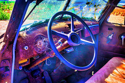 Photograph - Old Truck Steering Wheel by Garry Gay
