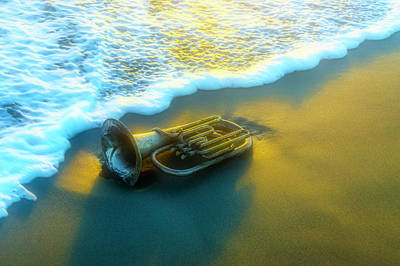 Photograph - Old Tuba In The Surf by Garry Gay