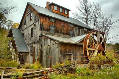 Photograph - Old Vermont Wooden Grist Mill by Adam Jewell
