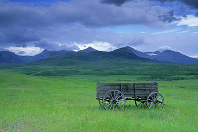 Beauty In Nature Photograph - Old Wagon Abandoned In Field, With by Ian Cook