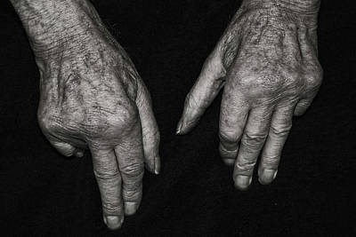 Photograph - Old Watchmakers Hands Showing A Lifetime Of Accumalated Wri by Doc Braham