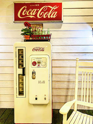 Photograph - Old White Coca Cola Machine by Garry Gay