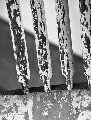 Photograph - Old Wooden Chair Spindles - Black And White by Kae Cheatham
