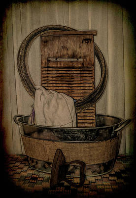 Photograph - Old Wooden Washboard by Pamela Walton