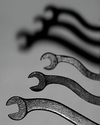 Photograph - Old Wrenches - black and white with shadows by Art Whitton