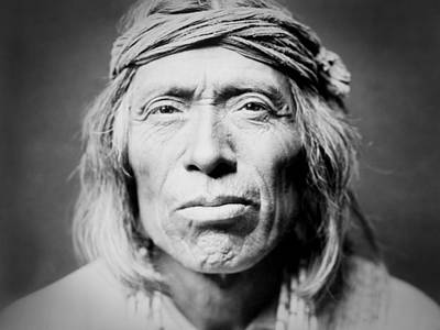 Portraits Royalty-Free and Rights-Managed Images - Old Zuni Man circa 1903 by Aged Pixel