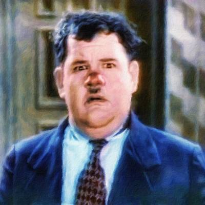 Painting - Oliver Hardy, Portrait by Vincent Monozlay
