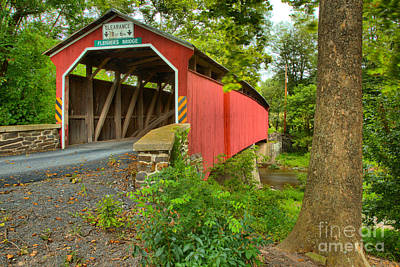 Photograph - Oliver Township Fleisher Covered Bridge by Adam Jewell