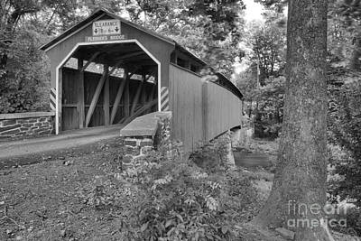 Photograph - Oliver Township Fleisher Covered Bridge Black And White by Adam Jewell