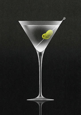 Drinking Digital Art - Olives In Martini Cocktail Glass by Nick Purser