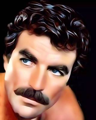 Portraits Royalty-Free and Rights-Managed Images - Tom Selleck Portrait by Scott Wallace Digital Designs