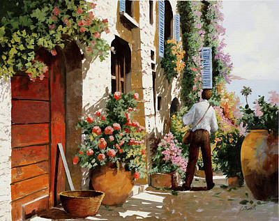 Watercolor City Skylines - Omino Sulla Bella Strada by Guido Borelli