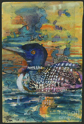 Loon Wall Art - Painting - On Loon Lake by Maria Hunt