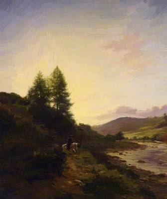 Joseph Farquharson Wall Art - Painting - On The Dee Near Woodend Aberdeenshire 1867 by Farquharson Joseph