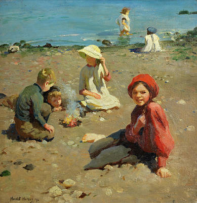 Little Girl On Beach Wall Art - Painting - On The Sands by Harold Harvey