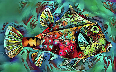 Digital Art - One Funky Fish by HH Photography of Florida