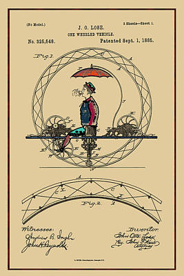 Photograph - One Wheeled Vehicle Patent - 1885  by Carlos Diaz