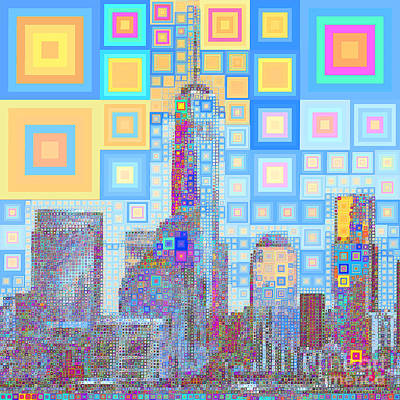 Photograph - One World Trade Center Lower Manhatten New York Skyline In Abstract Squares 20190205sq P168 by Wingsdomain Art and Photography