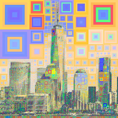 Photograph - One World Trade Center Lower Manhatten New York Skyline In Abstract Squares 20190205sq by Wingsdomain Art and Photography