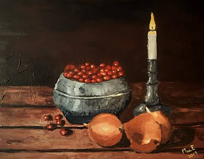 Painting - Onions and berries by Mats Eriksson