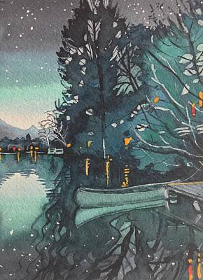 A White Christmas Cityscape - Blue Evening Light at the Lake  by Luisa Millicent