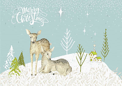 Wall Art - Mixed Media - Ooh Deer It's Christmas by Amanda Lakey
