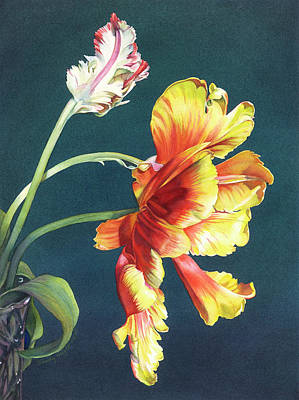 Tulips Watercolor Wall Art - Painting - Opening Night by Sandy Haight
