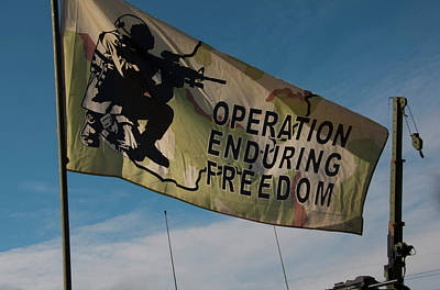 Photograph - Operation Enduring Freedom Flag Blowing In The Breeze by Chris Flees