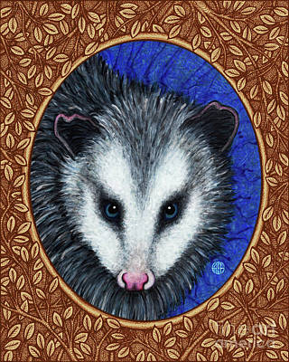 Painting - Opossum Portrait - Brown Border by Amy E Fraser