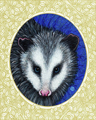 Painting - Opossum Portrait - Cream Border by Amy E Fraser
