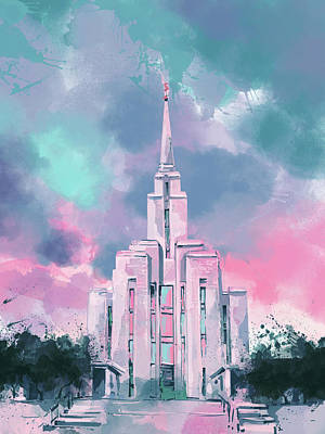 Salt Lake Temple Wall Art - Digital Art - Oquirrh Mountain Temple Watercolor 2 by Bekim Art